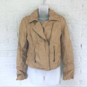 Trendy Streetwear Tan Lined Vegan Leather Jacket